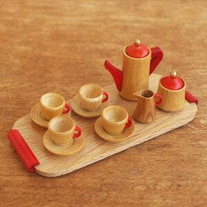 ドイツ製 木のミニチュア ティーセット ナチュラル 【ままごと 木製 おもちゃ ドールハウス オブジェ 置物 飾り かわいい】