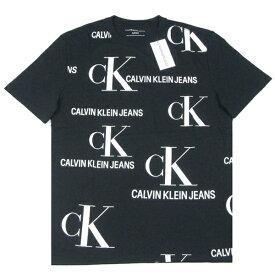 Calvin Klein Jeans【余白を活かしたCKロゴの総柄】半袖 Tシャツ【ブラック/ホワイト】新品 カルバンクライン ジーンズ メンズ ロゴT DKNY ダナキャラン GUESS ゲス Armani Exchange アルマーニエクスチェンジ ヒップホップ ダンス 90年代 HIP HOP