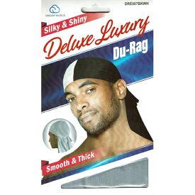 NO BRAND【2トーン★光沢のあるスムースタイプ】Deluxe Du-Rag【ホワイト/ブラック】新品 ドゥーラグ HIP HOP 衣装 ヒップホップ ダンス 男女兼用 DU RAG 無地 TIE DOWN CAP スパンデックス キャップ SPANDEX B系 NEW ERA ニューエラ NEW YORK買い付け ニューヨーク