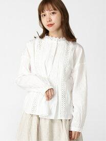 [Rakuten Fashion]刺繍レーススタンドネックブラウス Samansa Mos2 サマンサモスモス シャツ/ブラウス 長袖シャツ ホワイト ブラウン ブラック【送料無料】
