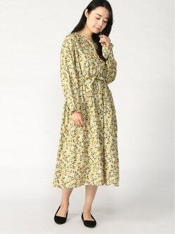 [Rakuten Fashion] picture in watercolors blowing snow pattern ティアード reshuffling dress Samansa Mos2 Samantha MOS MOS dress long sleeves dress yellow-green purple