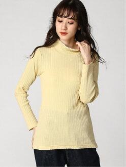 [Rakuten Fashion] pattern mesh turtle inner Samansa Mos2 Samantha MOS MOS knit knit turtle yellow white gray beige