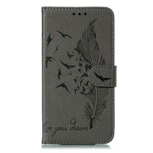 iPhone11手帳型スマホケース 型押し 羽根 鳥 英字 アンティークレザー 合皮 マグネット開閉 カード収納 スタンド 閉じたまま通話可能