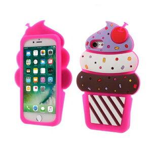 iPhone7Plus/8Plus 背面ケース ケース カバー シリコン アイスクリーム ice-cream インスタ映え カラフル ピンク ビビッド さくらんぼ チェリー インパクト 目立つ ネタ チョコ クリーム チップス