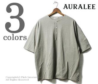 AURALEE made in Japan HIGH GAUGE PIQUE DOUBLE CLOTH HENLEY NECK (AURALEE-PIQUE-WCLOTH-HENLEY(A8SH02HK))