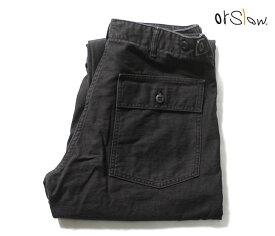 orSlow オアスロウ ファティーグパンツ 5002 ベイカーパンツ レギュラーフィット ブラック ストーンウォッシュ US ARMY FATIGUE PANTS Button Fly BLACK STONE MADE IN JAPAN (01-5002-61S)