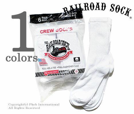 レイルロードソック/RAILROAD SOCK アメリカ製 ''6P CREW WHT''クルーソックス/靴下(MEN'S 6 PAIR CREW-SOLID WHITE(6070))