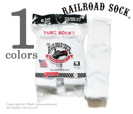 レイルロードソック RAILROAD SOCK チューブソックス 靴下 6P TUBE WHT MADE IN USA (MEN'S 6 PAIR TUBE-SOLID WHITE(6075))