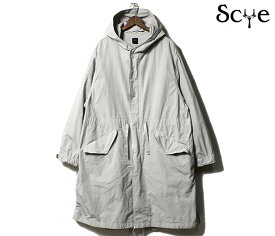 SCYE BASICS サイベーシックス コート PE/NY 高密度タフタ ミリタリーパーカー モッズコート グレーベージュ P/N Garment Dyed Military Parka 2019fW MADE IN JAPAN (5119-73511)