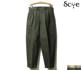 SCYE BASICS サイ ベーシックス チノパン セルビッジチノ 2タック ワイドテーパード トラウザーズ スラックス 2019FW NEW MODEL Selvedge Chino Pleated Wide Tapered Trousers MADE IN JAPAN (5119-83550)