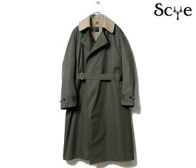 SCYE BASICS サイベーシックス ダークオリーブ ギャバジン タイロッケンコート Cotton Gaberdine Tielocken Coat (5121-73512)