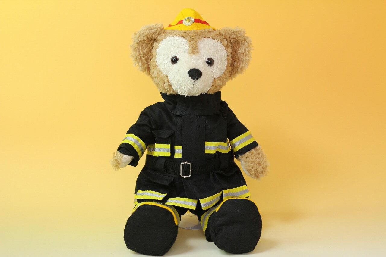 ダッフィーSサイズ用コスチューム、ウェルカムドール、消防士防火服黒とヘルメットのセット