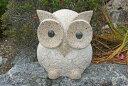 【送料無料】【石の彫刻品】お目めパッチリふくろう(大)ベージュ色・高さ28mお庭にいかが?石ふくろうなら当店におま…