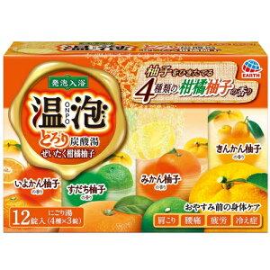 温泡 ONPO とろり炭酸湯 ぜいたく柑橘柚子 4種 x 3錠入(12錠)【医薬部外品】 / 炭酸湯 アース製薬