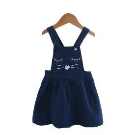 女の子 サスペンダースカート 猫柄 スカート子ども サスペンダースカート キッズ 子供 女の子 スカート ボトムス デニム サスペンダースカート デニムスカート FY