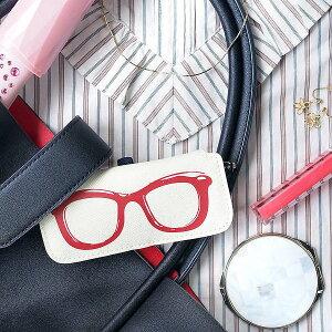 【名入れ】メッセージが入る スリムメガネケース レッド PC眼鏡ケースの女性への贈り物