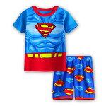 新入荷綿100%スーパーマン青/赤色半袖Tシャツハーフパンツセット子供男の子キャラクターパジャマ上下セット子ども寝巻き
