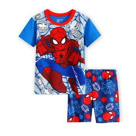 スパイダーマン 半袖 パジャマ  水色/赤 半袖Tシャツ&ショットパンツ セット 男の子 キッズ 子どもパジャマ スパイダーマン