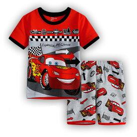 車 CAR柄 カーズ cars 柄 綿100% 半袖Tシャツ&ハーフパンツ セット♪男の子 キッズ 子どもパジャマ 車柄 赤/灰色