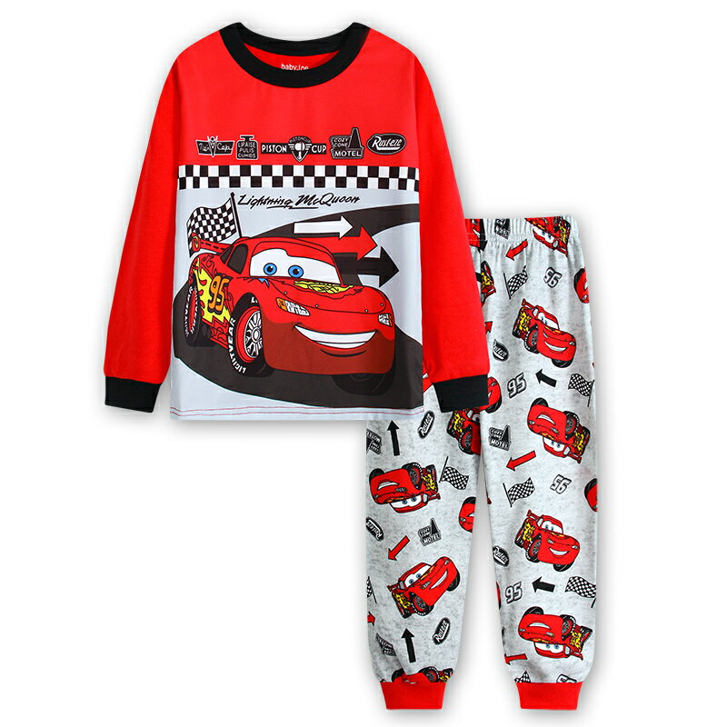新入荷 車柄 CAR柄 カー cars 柄 赤/灰色 長袖Tシャツ&ロングパンツ セット 男の子 キッズ 子どもパジャマ 車柄♪