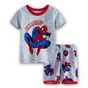 新入荷 スパイダーマン 綿100% 灰色 半袖Tシャツ ハーフパンツ セット 子供 男の子 グレー パジャマ 上下セット 子ども 寝巻き♪