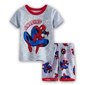 fe5fc3300dae1d スパイダーマン 綿100% 灰色 半袖Tシャツ ハーフパンツ セット 子供 男の子 グレー パジャマ 上下