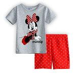 新入荷!綿100%ミニー柄グレー/赤半袖Tシャツショットパンツ上下セット♪女の子パジャマ子ども子供キッズパジャマ半袖