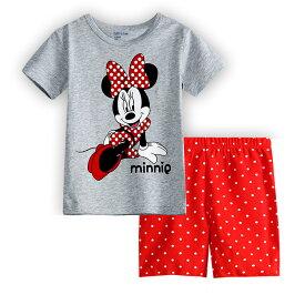 綿100% ミニー柄 グレー/赤 半袖Tシャツ ショットパンツ 上下セット♪女の子 パジャマ 子ども 子供 キッズ パジャマ 半袖