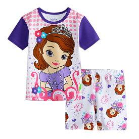 ea97c4103c39cd 綿100% プリンセスソフィア 半袖Tシャツ ショットパンツ パジャマ 上下セット 女の子 パジャマ 子ども