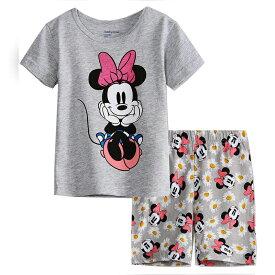 綿100% ミニー柄 半袖Tシャツ ショットパンツ 上下セット♪女の子 パジャマ 子ども 子供 キッズ パジャマ かわいい 女の子