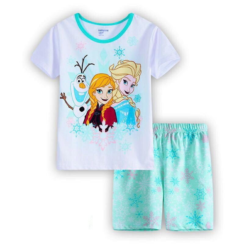 アナと雪の女王 綿100% 半袖Tシャツ ショットパンツ セット 女の子 パジャマ 子供 子ども 上下セット 半袖袖 パジャマ 寝巻き 薄グリーン