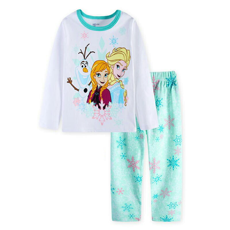 アナと雪の女王 綿100% 長袖Tシャツ ロングパンツセット 女の子 パジャマ 子供 子ども 上下セット 長袖 パジャマ 寝巻き 白/薄グリーン