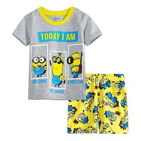 訳あり処分 綿100% キャラクター ミニオンズ グレー/黄色 綿100% パジャマ 半袖Tシャツ&ショットパンツ セット 女の子 男の子 キッズ 子どもパジャマ 子供 パジャマ