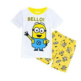 新入荷 綿100% キャラクター ミニオンズ 白/黄色 綿100% パジャマ 半袖Tシャツ&ショットパンツ セット 女の子 男の子 キッズ 子どもパジャマ 子供 パジャマ