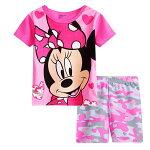 綿100%ミニー柄半袖Tシャツショットパンツ上下セット♪女の子パジャマ子ども子供キッズパジャマかわいい女の子