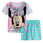 綿100%ミニー柄半袖Tシャツショットパンツ上下セット♪女の子パジャマ子ども子供キッズパジャマかわいい女の子ピンク&薄グリーン