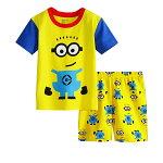 新入荷キャラクターミニオンズパジャマ半袖Tシャツ&ショットパンツセット女の子キッズ子どもパジャマ子供パジャマピンク/イエロー