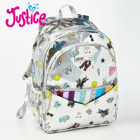 Justice シルバーホログラムリストレット付きバックパックJUSTICE holo sticker pocket backpack & wristleアメリカンガールズ御用達