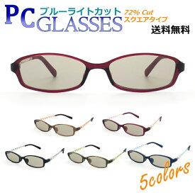パソコン眼鏡 ハイカットモデル ボーダー柄 スクエア PC メガネ ブルーライトカット 【送料無料】 72% カット UV対策