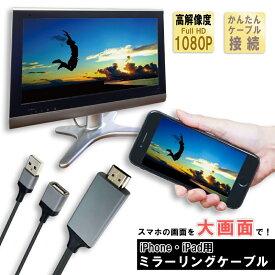 iPhone HDMI 変換 ケーブル アイフォン テレビ 接続ケーブル iPad ライトニング 変換アダプタ lightning モニター ミラーリング
