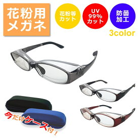 花粉メガネ 大人用 眼鏡 オーバルタイプ 花粉症対策 軽量 調整可能 紫外線カット 宅配便送料無料