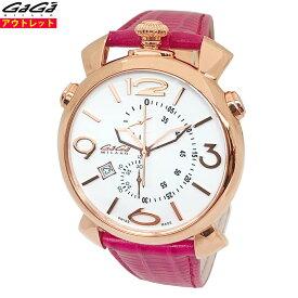 ガガミラノ 腕時計 新品・アウトレット 5098.01 シンクロノ ピンク 46mm スイス製 クロノグラフ リザードレザーベルト クォーツ・クオーツ レディース あす楽