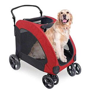 ペットカート 犬用 折りたたみ式 ドッグカート-レッド (307 型)