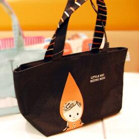 赤ずきん(黒バック)保冷保温ランチバッグ シンジカトウ Redhood Lunch bag(black color based) Shinzi Katoh design【宅配便のみ】