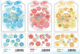 シール パフィオーレ sticker seal 40枚入り 透明シール素材 プチキラ箔 フラワーシール ゴールド箔 メッセージカード アルバム デザイン Q-Lia クーリア