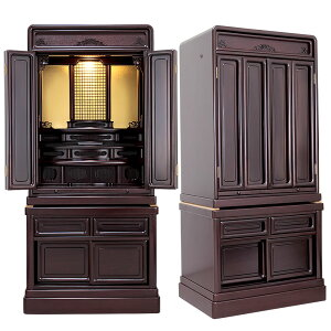 唐木仏壇・ダルマ・L 40-18号【下台付仏壇】伝統型で馴染み深いダルマ型デザインのLEDライトが付いたお仏壇。紫檀を使い高級感ある仕上がりとなっています。