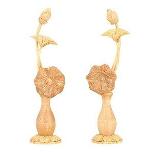 【仏具】常花 白檀 ミニ(1対)最高級材でもある白檀を使った非常に豪華で存在感溢れる常花です。小型サイズでミニ仏壇でも本格的にという方におすすめ。