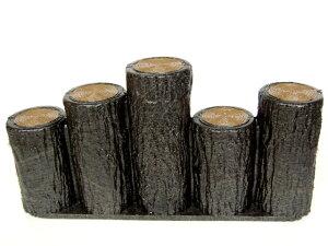 サンポリ プラスティック擬木 はなえ80φ 段違い5連 H200 お庭の縁取り diy 花壇 囲い 土留め ブロック 仕切り フェンス 柵 ガーデニング 樹脂製 プラ 擬木 Flowerbed Artificial Wood