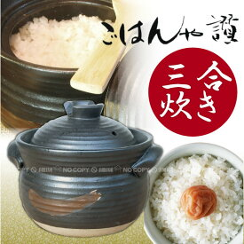 土鍋 炊飯 / 炊飯土鍋ごはんや讃 3合炊き 黒/【ポイント 倍】