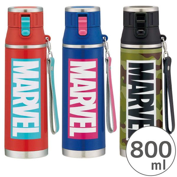 水筒 保冷 / ロック付き ワンプッシュ ステンレス ダイレクトボトル 800ml MARVEL マーベル ロゴ /【ポイント 倍】